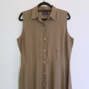 Tan Beige Collared Button Down Summer Casual Dress